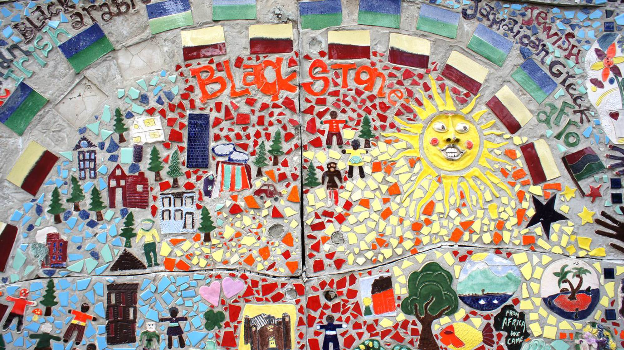 Mosaic by the entrance of the BCC